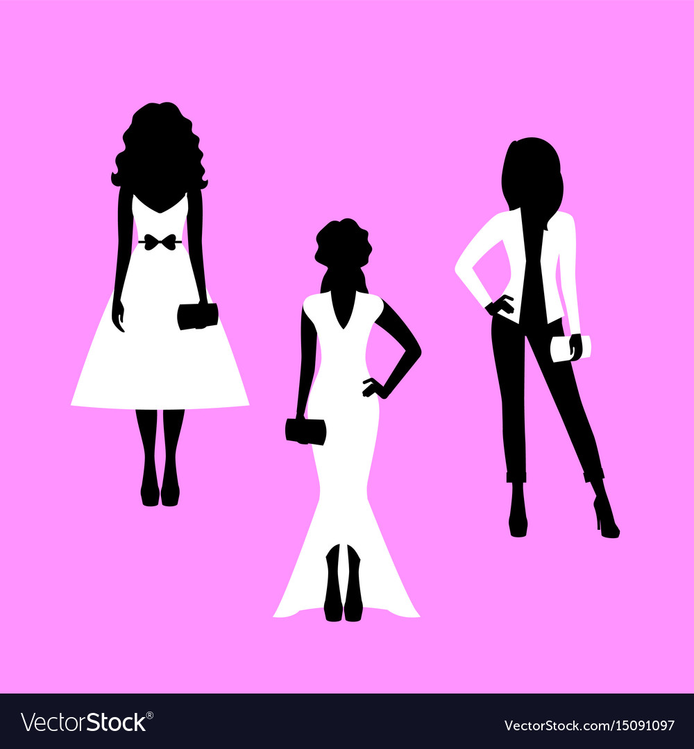 Woman model silhouettes set