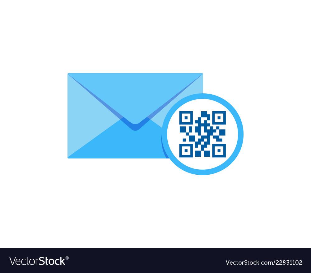 Barcode mail logo icon design