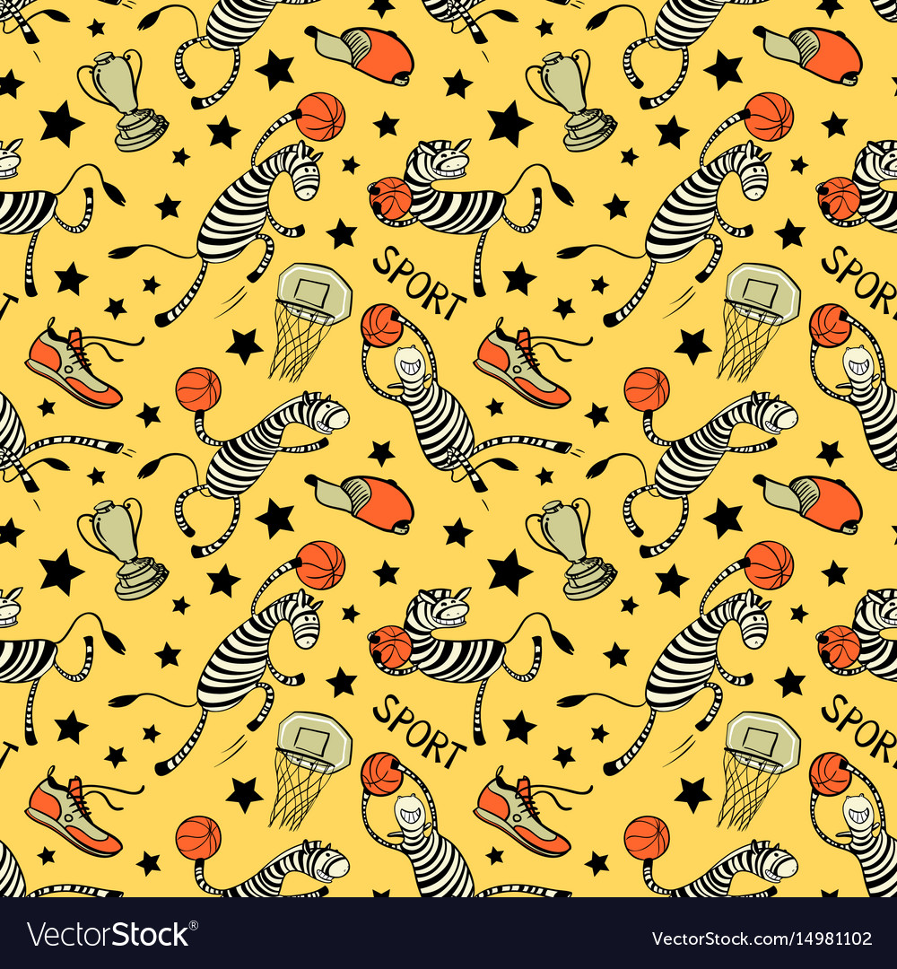 Basketball game seamless pattern with doodle cute