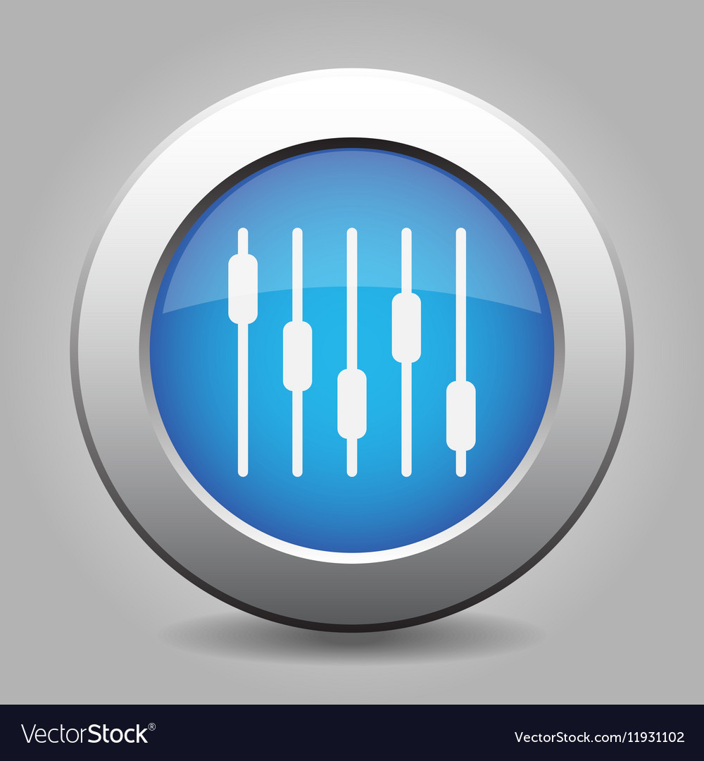Blue metallic button white equalizer symbol icon
