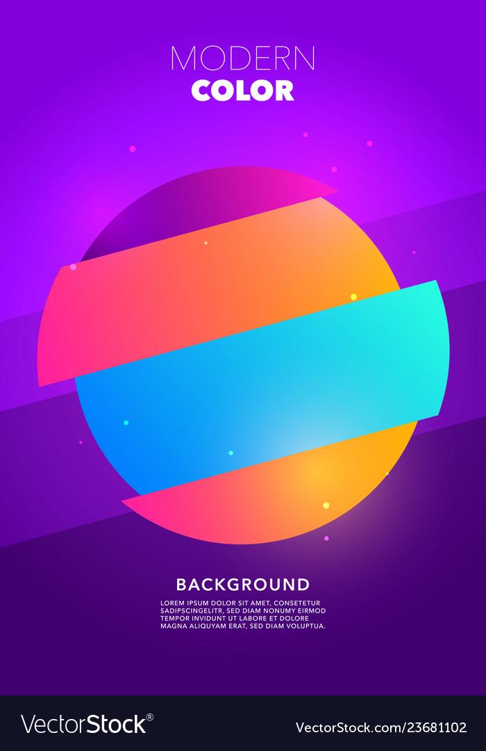 Colorful retro circle shape glitch poster design
