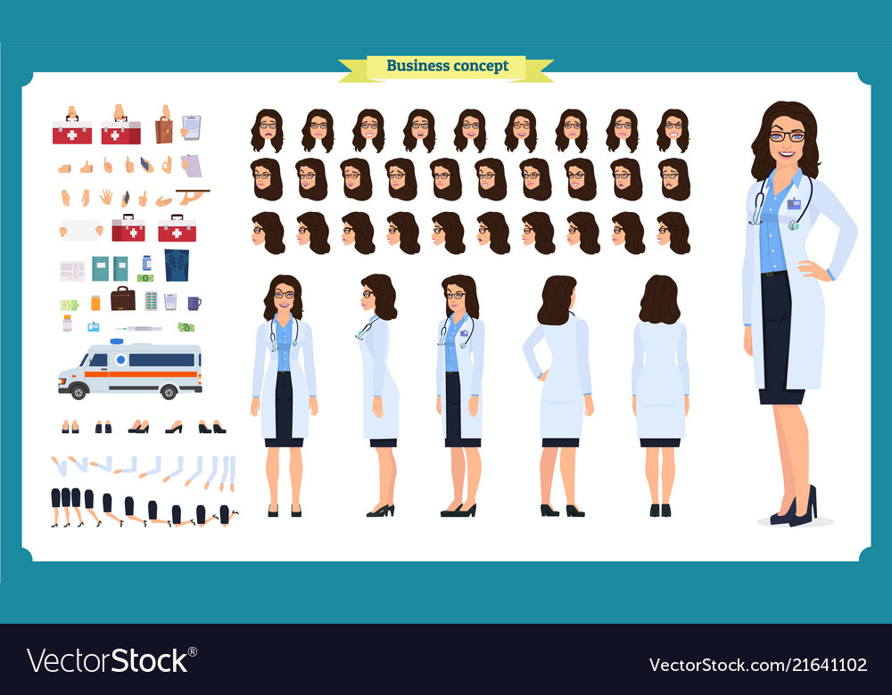 Female doctor character creation setfront side