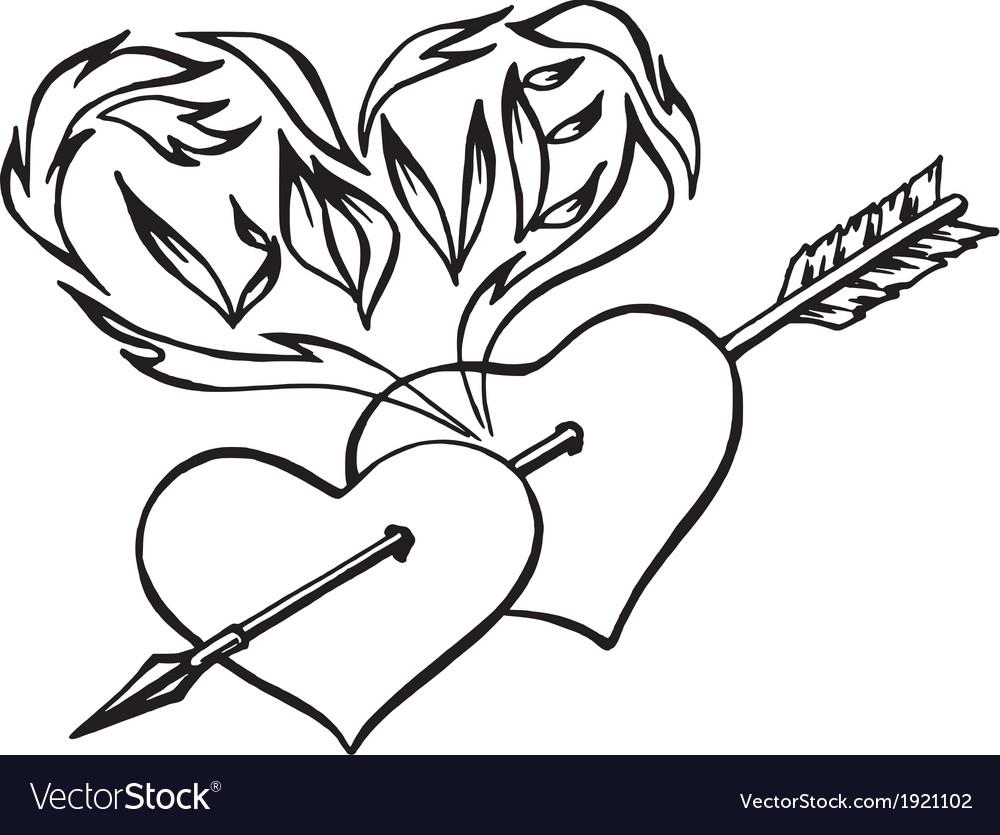 Flaming hearts heart pierced by an arrow