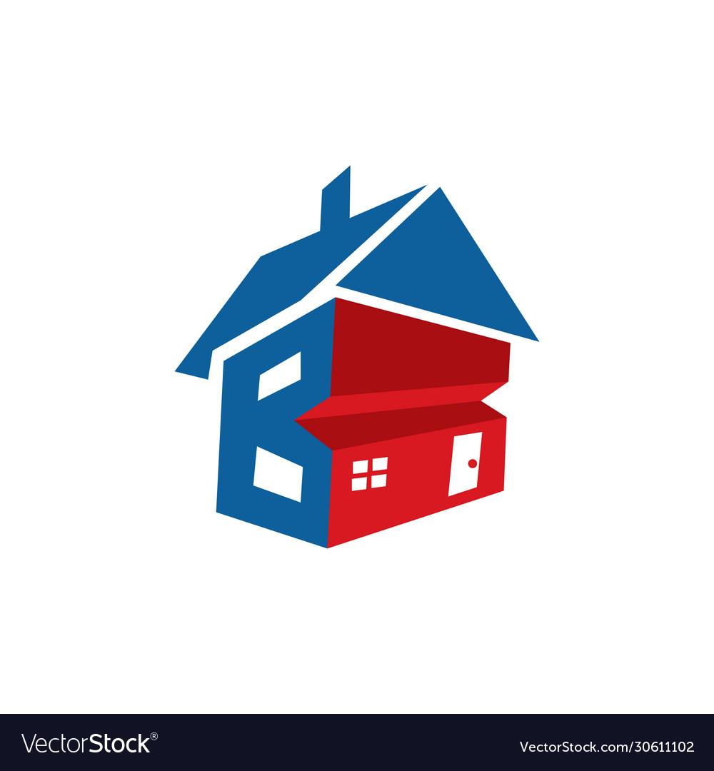 Letter b home logo design