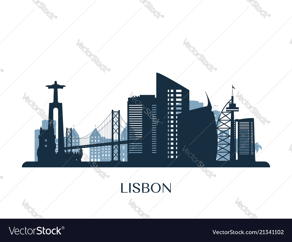 Lisbon skyline monochrome silhouette