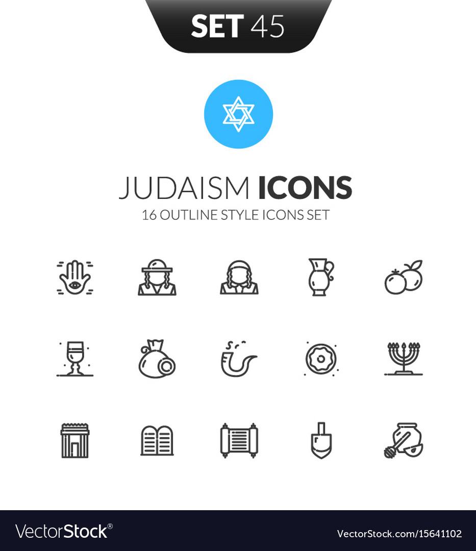Outline black icons set in modern design style
