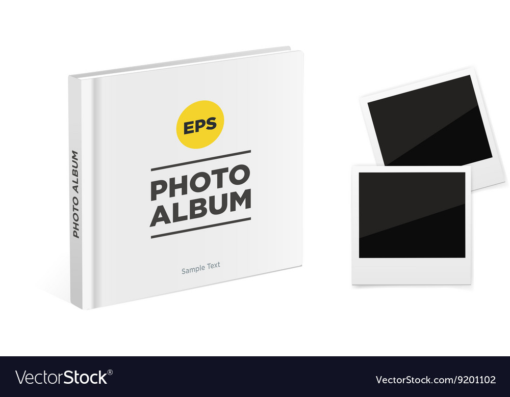 Photo album book with white cover vector image