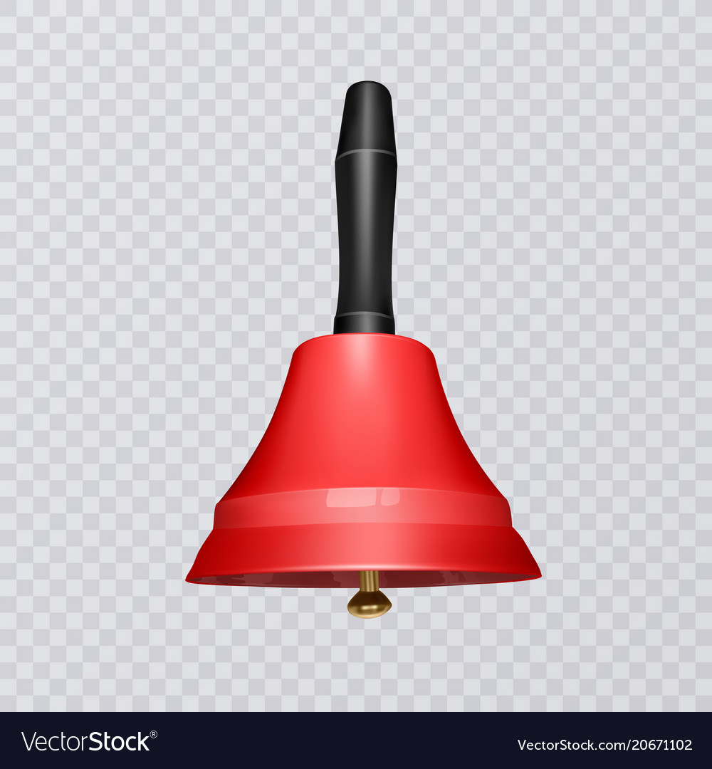 Realistic school bell red color on a transparent