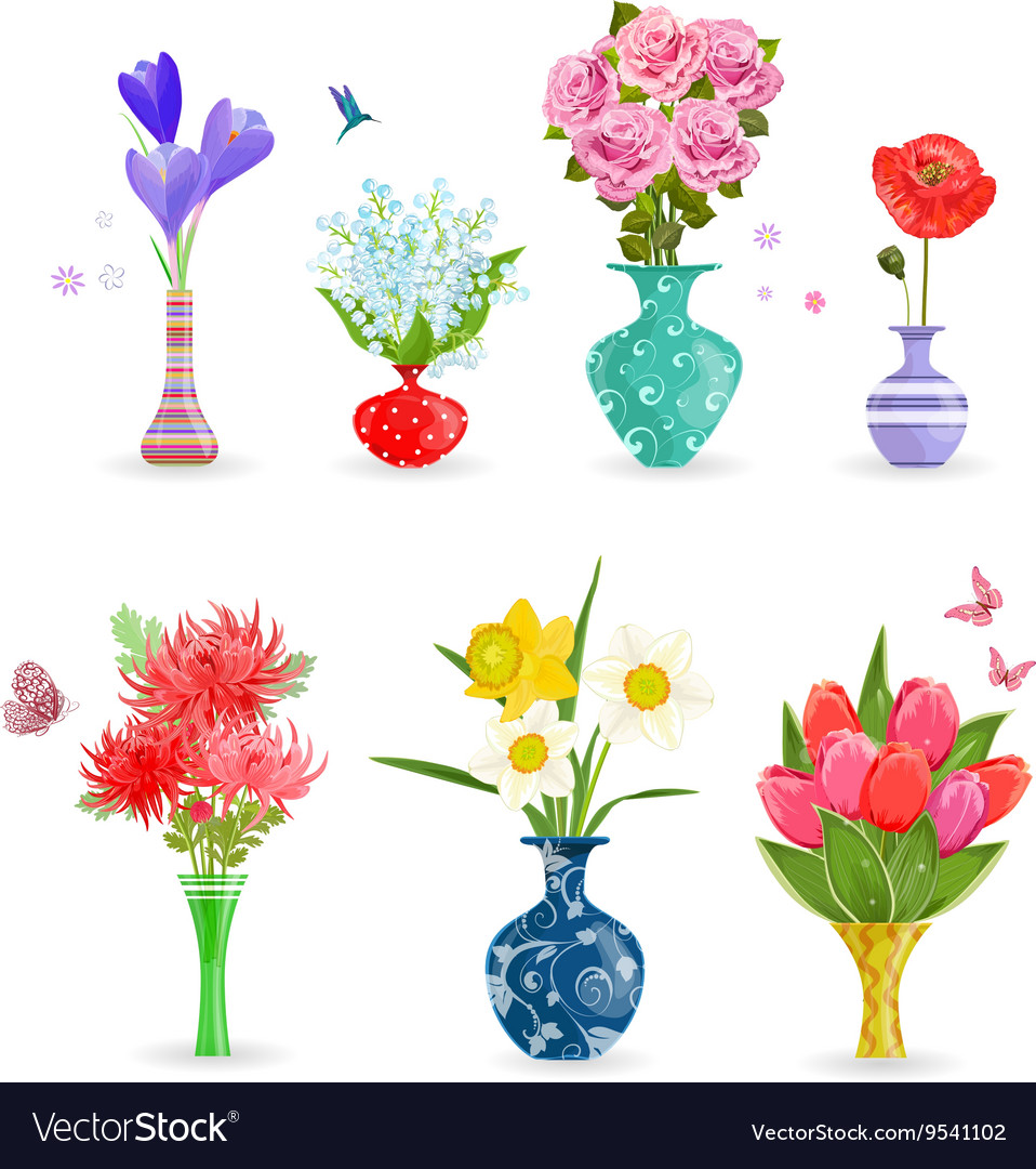 238 & Romantic collection of modern vases with flowers