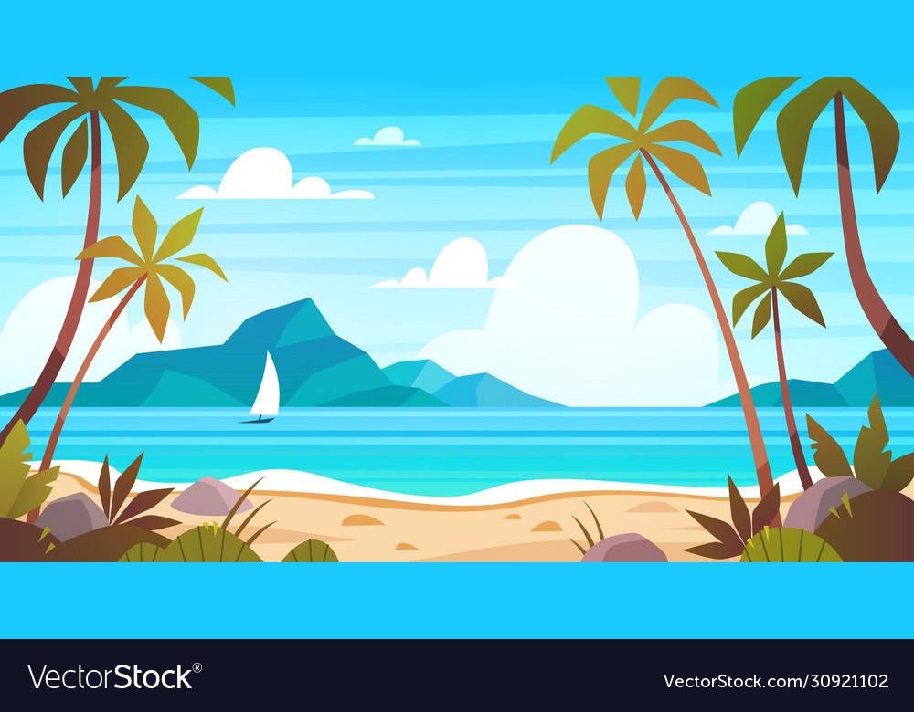 Sea landscape tropical beach ocean seashore
