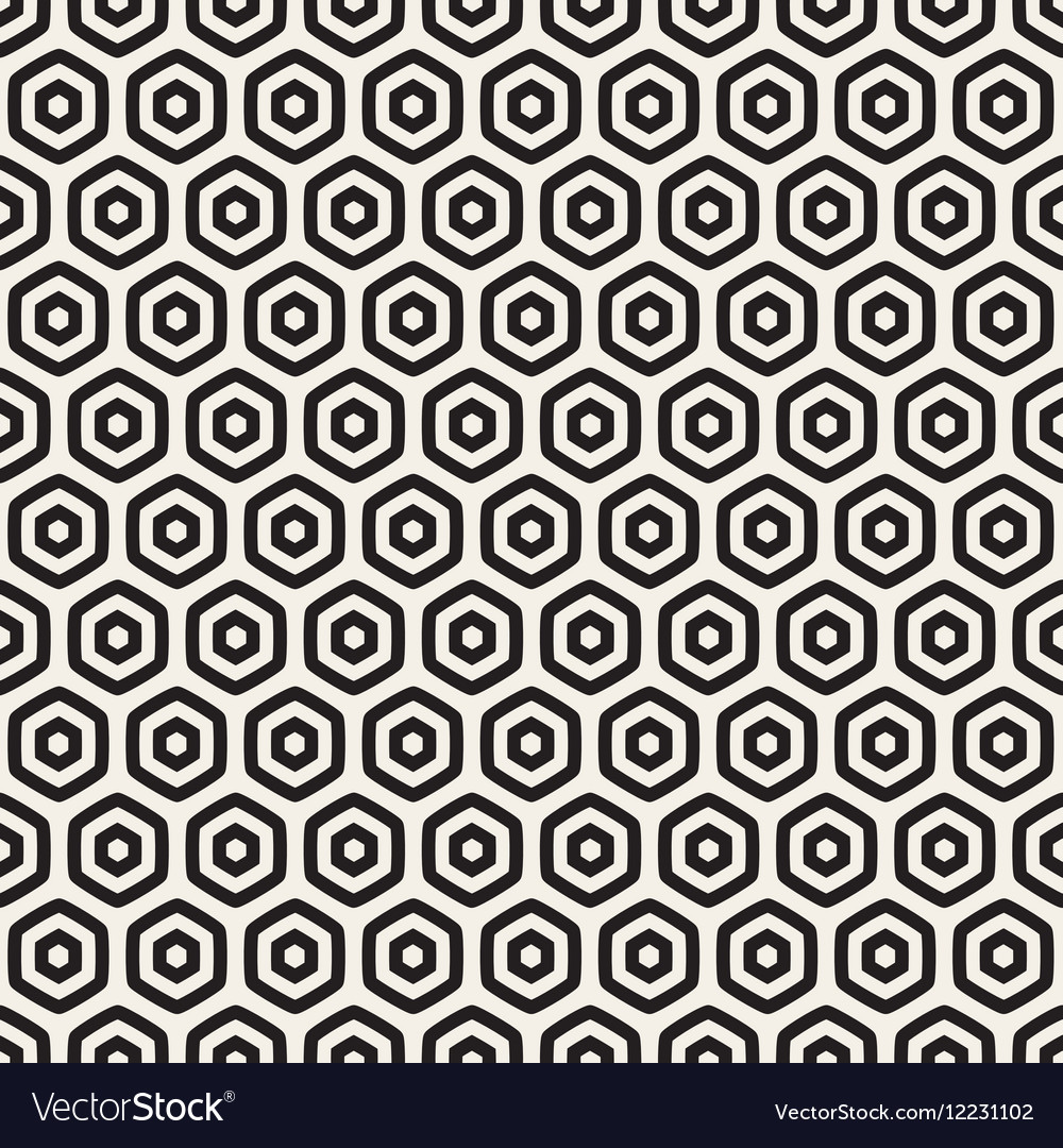 Seamless Black And White HoneyComb Grid