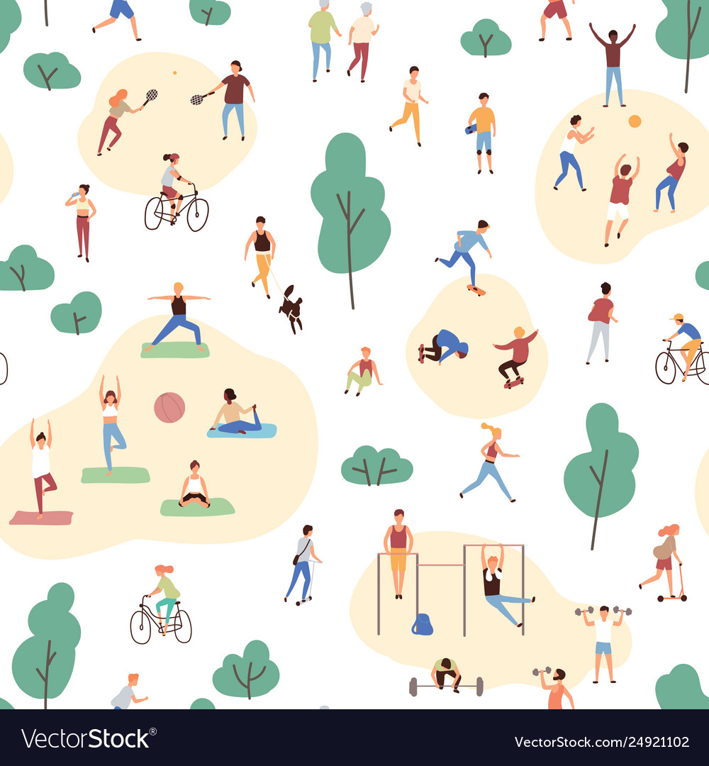 Seamless pattern with crowd people performing