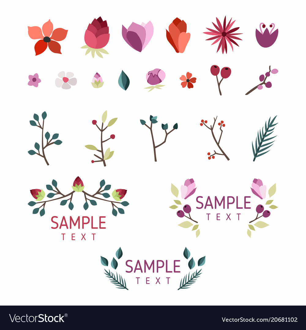 Set of floral design elements collection with