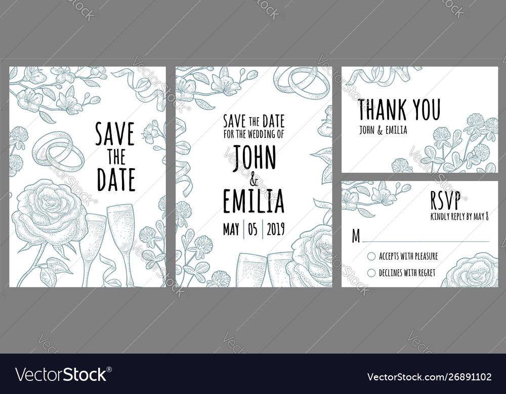 Set template wedding invitation monochrome