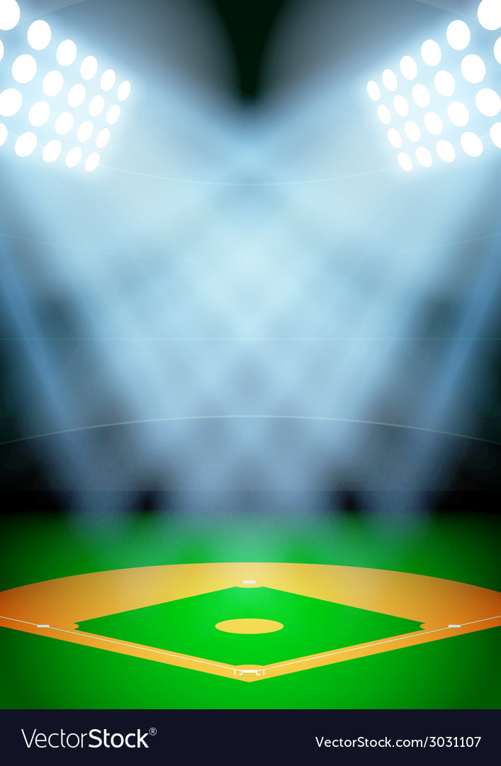 background for posters night baseball stadium in vector image