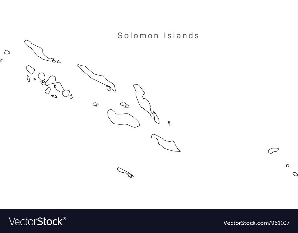 Black White Solomon Islands Outline Map