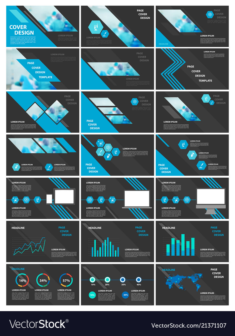 Blue and black elements for infographics