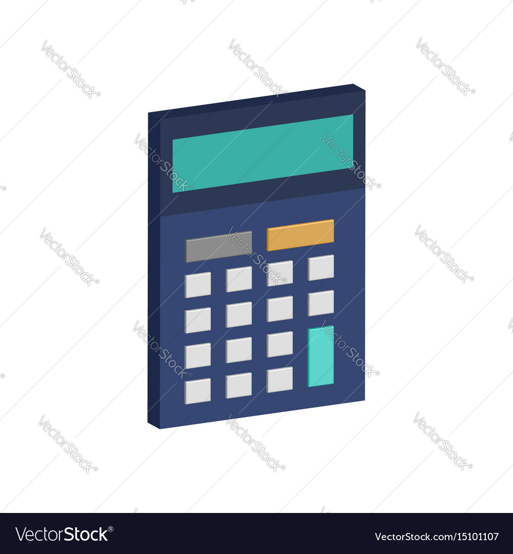 Calculator symbol flat isometric icon or logo 3d