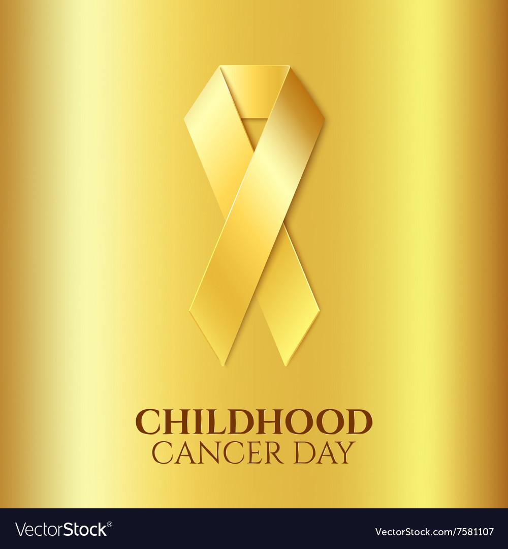 Childhood cancer golden ribbon vector image