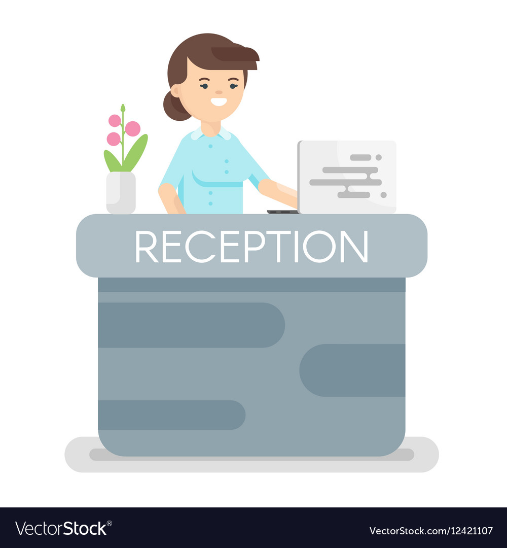 Flat style of hotel reception