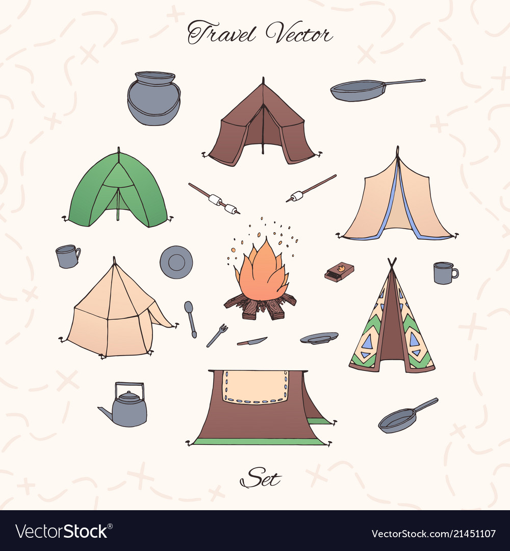 Hand drawn camping set with tents bonfire