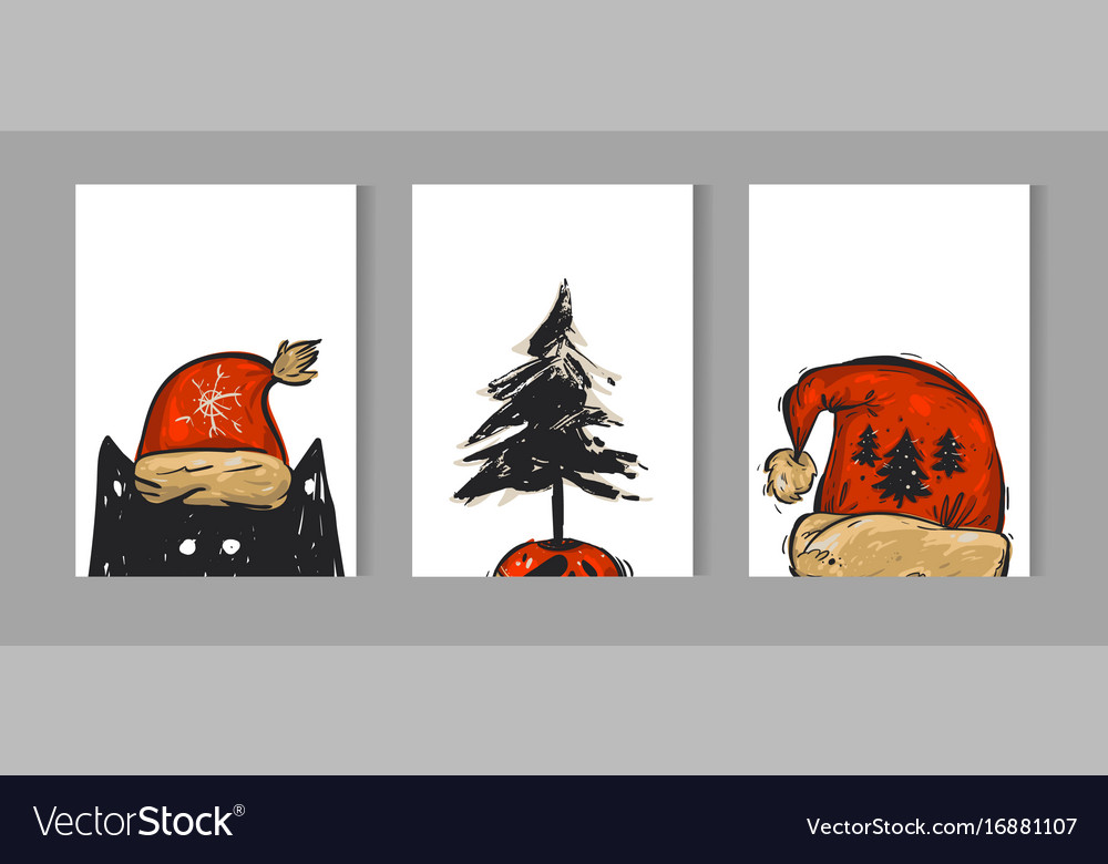 Hand drawn merry christmas greeting card