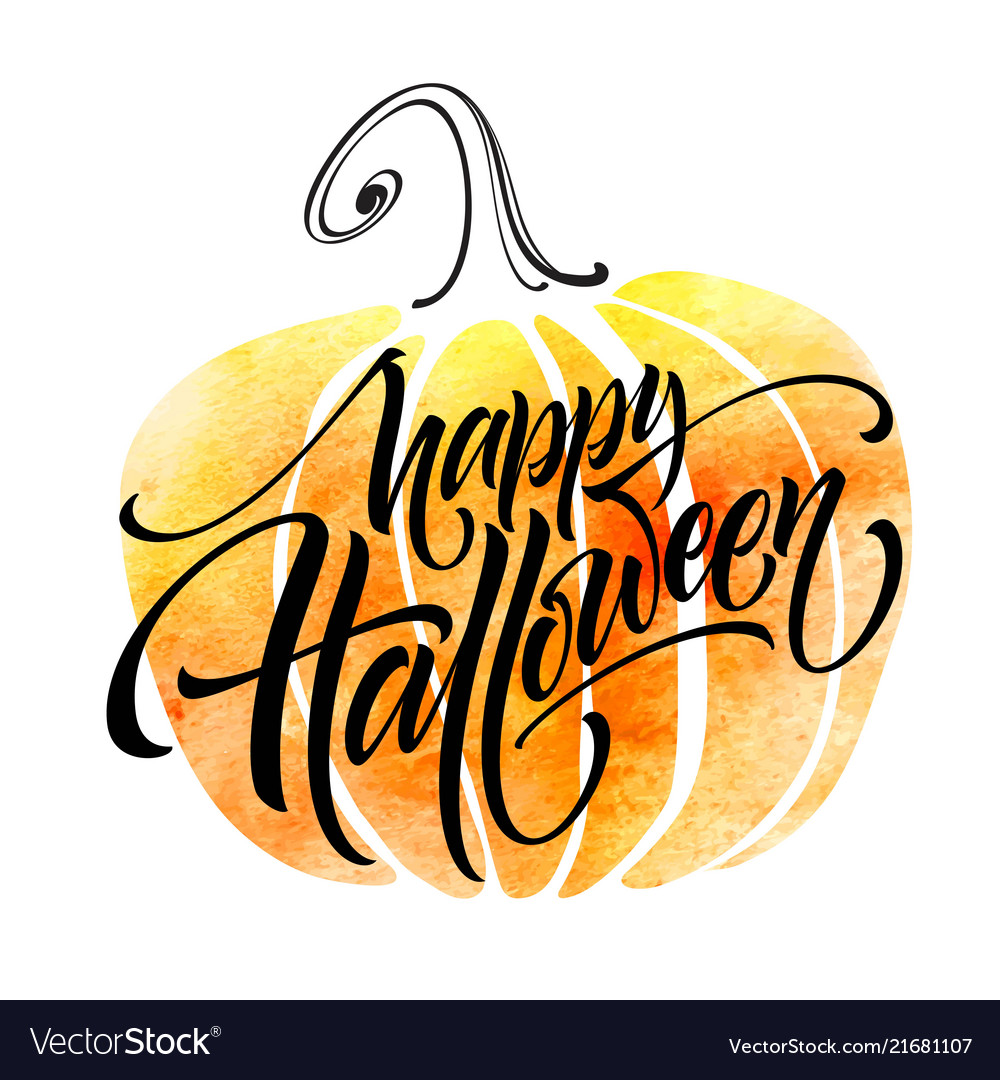 Happy Halloween Lettering On Watercolor Background