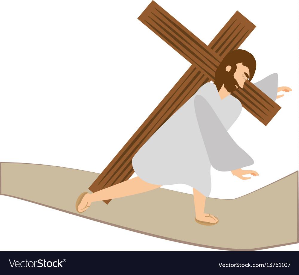 Jesus christ third fall via crucis station