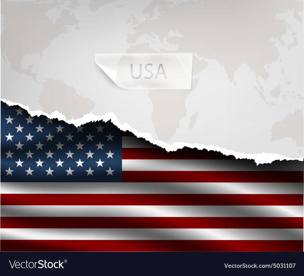 Paper with hole and shadows USA flag