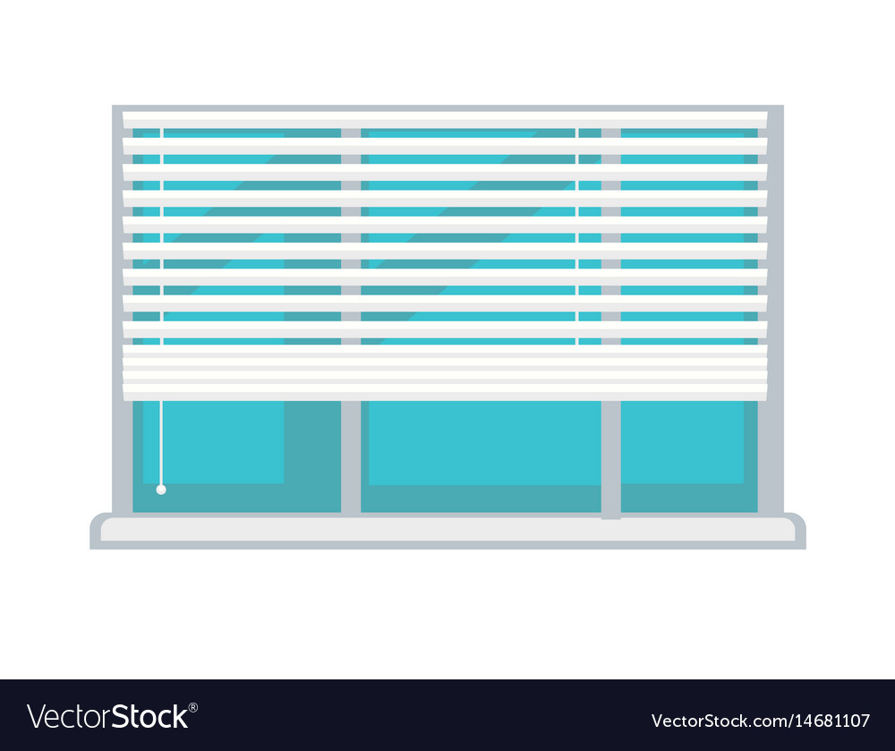 Plastic window with white half-mast blinds vector image