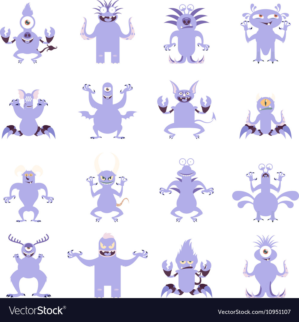 Set of flat moster icons6