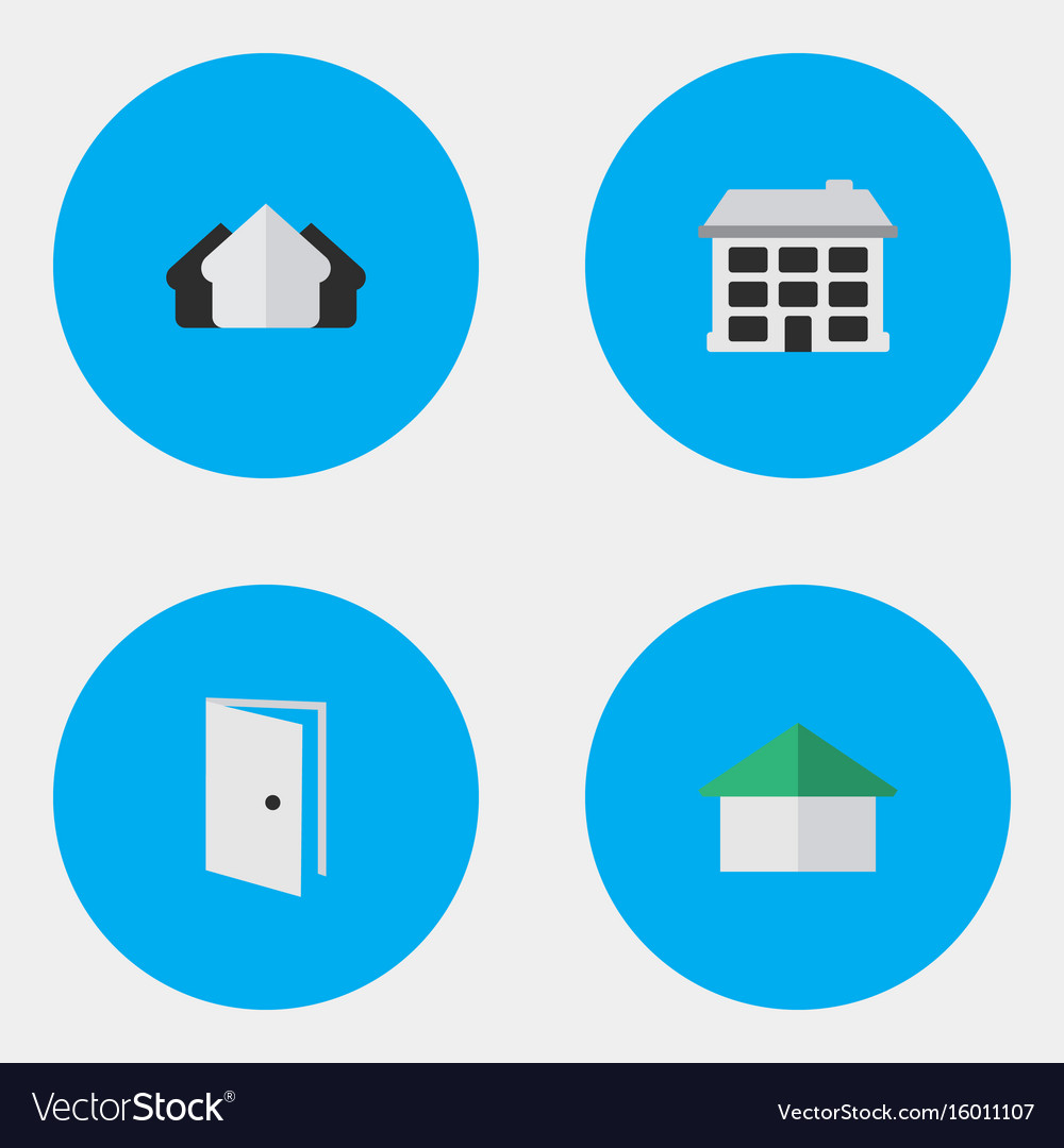 Set of simple property icons elements entry