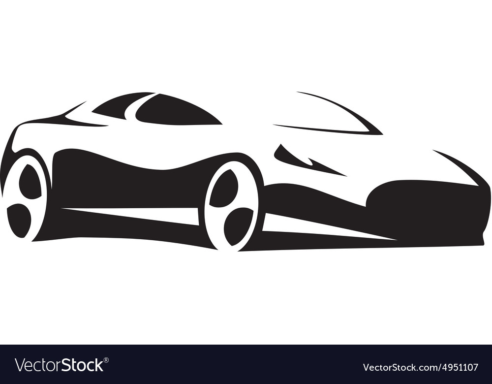 Silhouette Sport Car Black Royalty Free Vector Image
