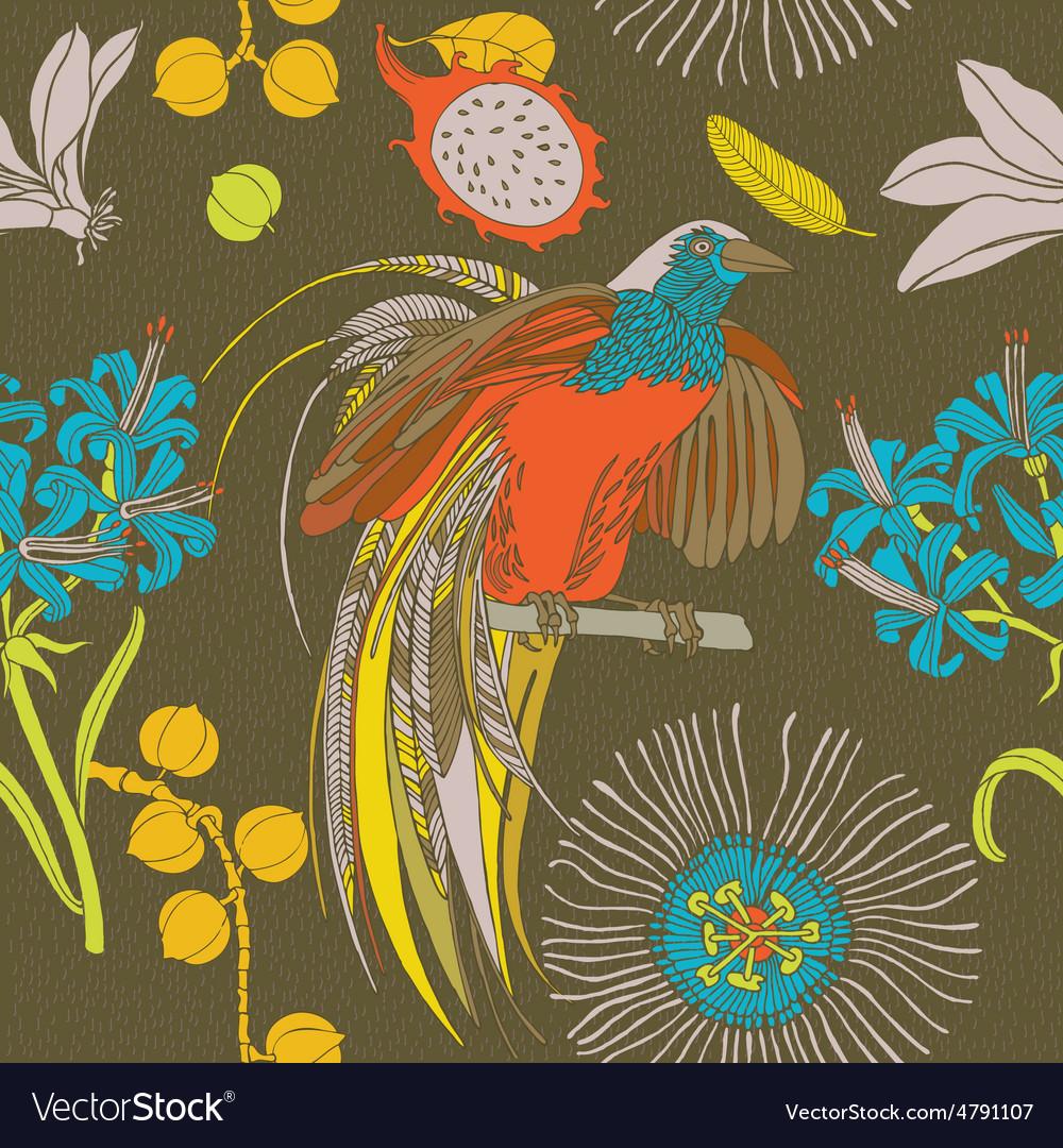Tropical flowers birds vector image