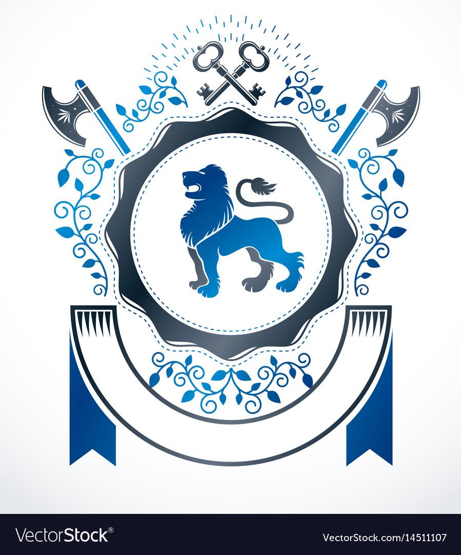 Vintage decorative emblem composition heraldic