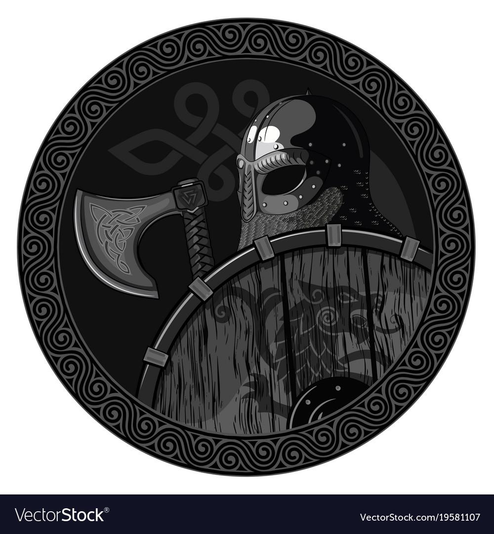 Warrior barbarian viking berserker with axe and vector image