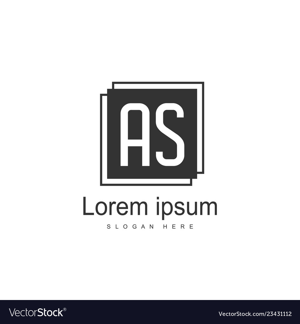As letters logo design simple and creative black