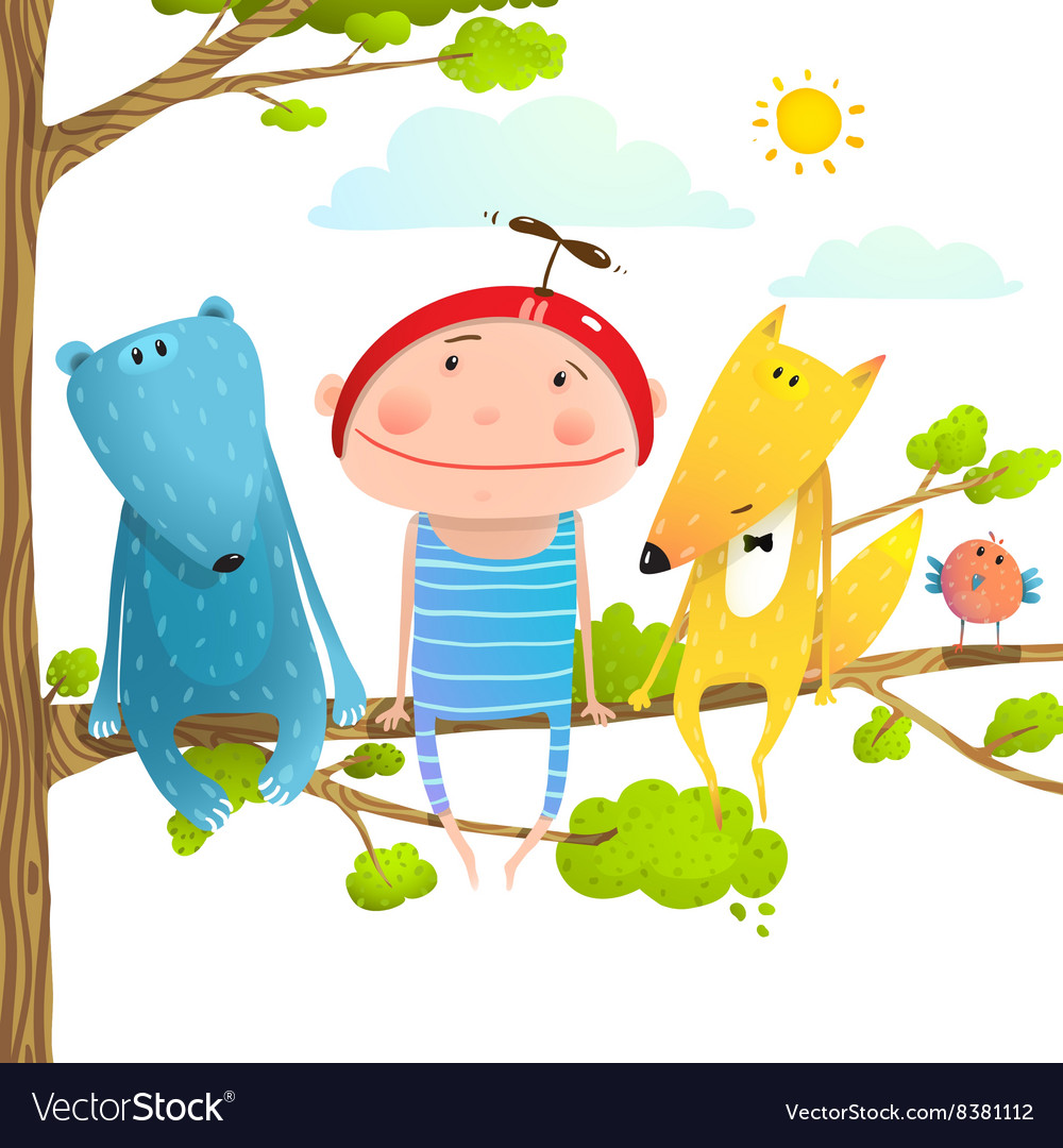 Baby animals and kid childish funny friends