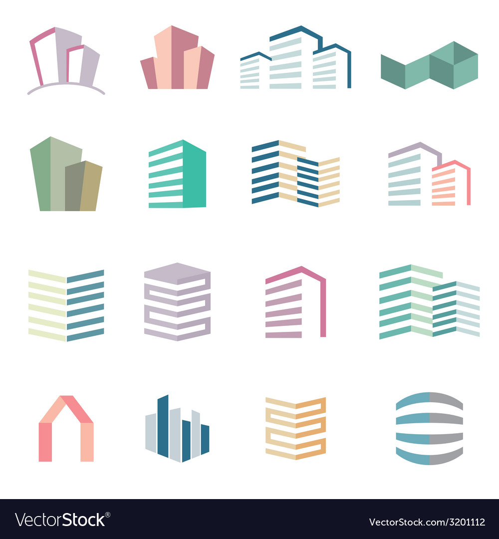 City buildings silhouette icons