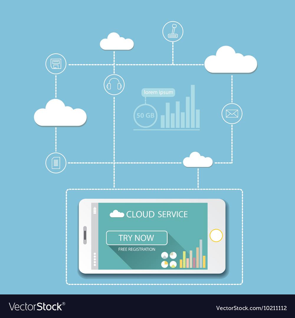 Cloud services mobile flat web infographic