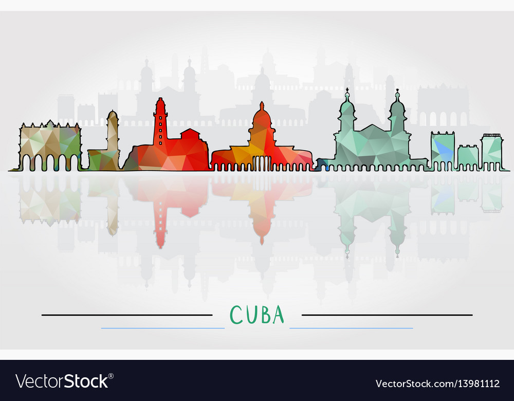 Cuba city silhouette with city silhouette design