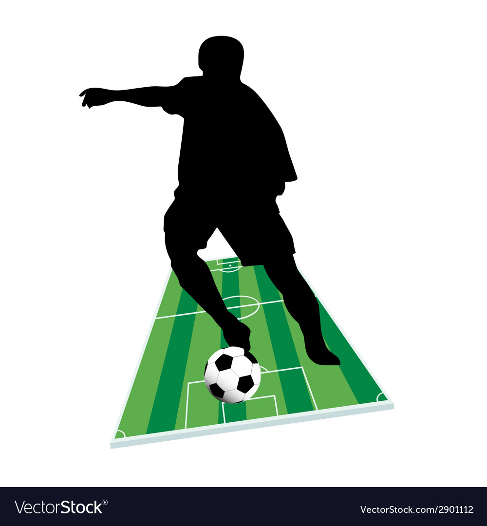 Football player with the ball on the ground vector image