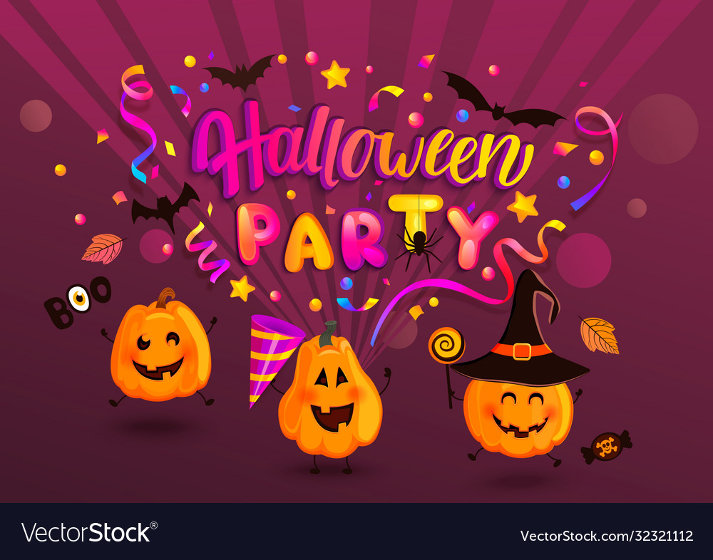 Halloween party greeting banner for kids