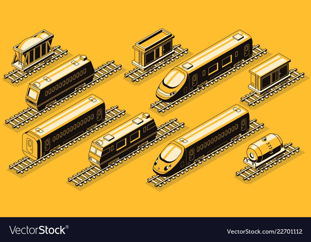 Railroad industry elements isometric set