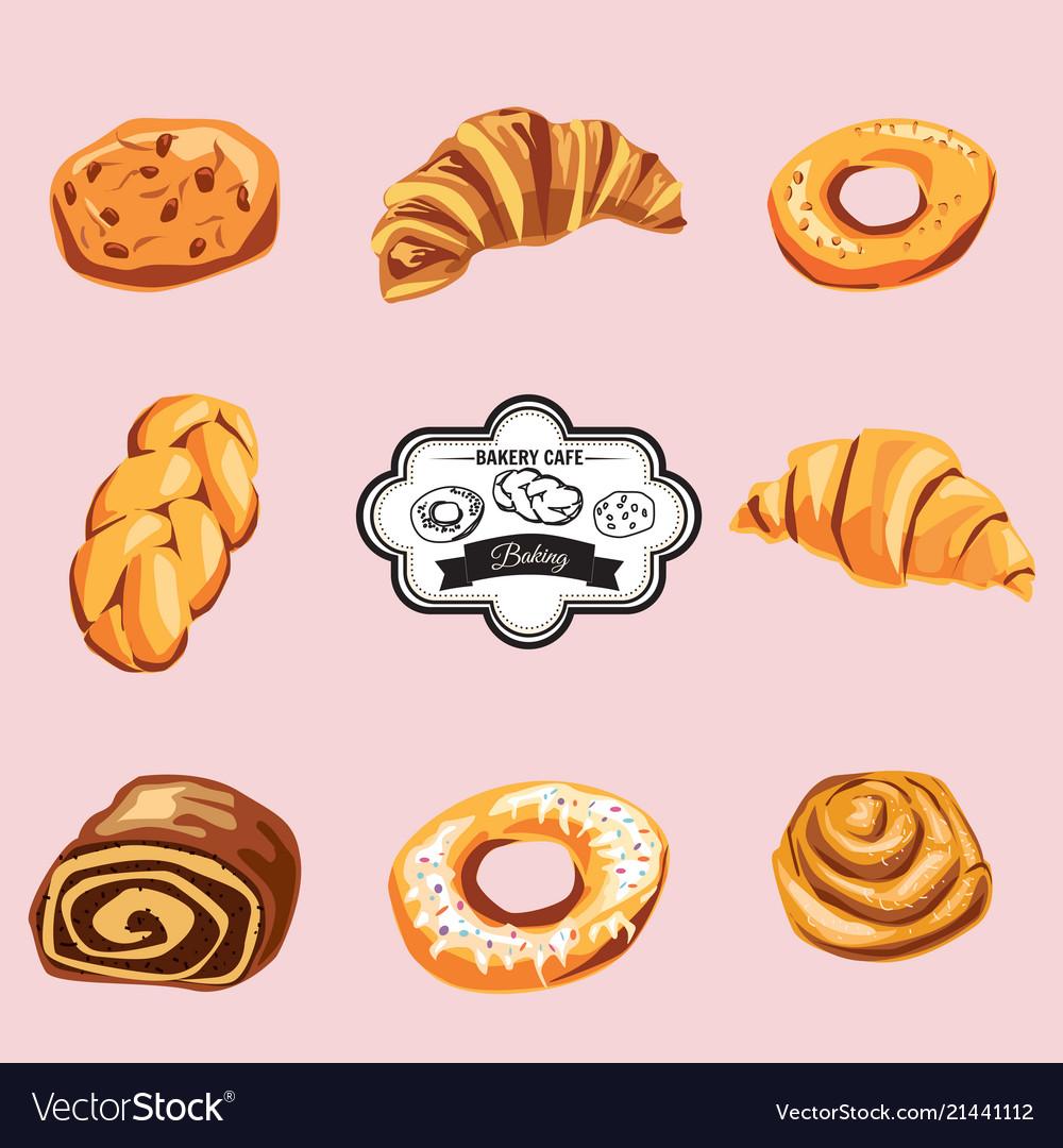 Set of baking croissant bagel strudel cookies