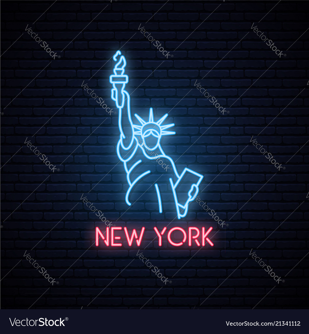 Statue of liberty neon icon