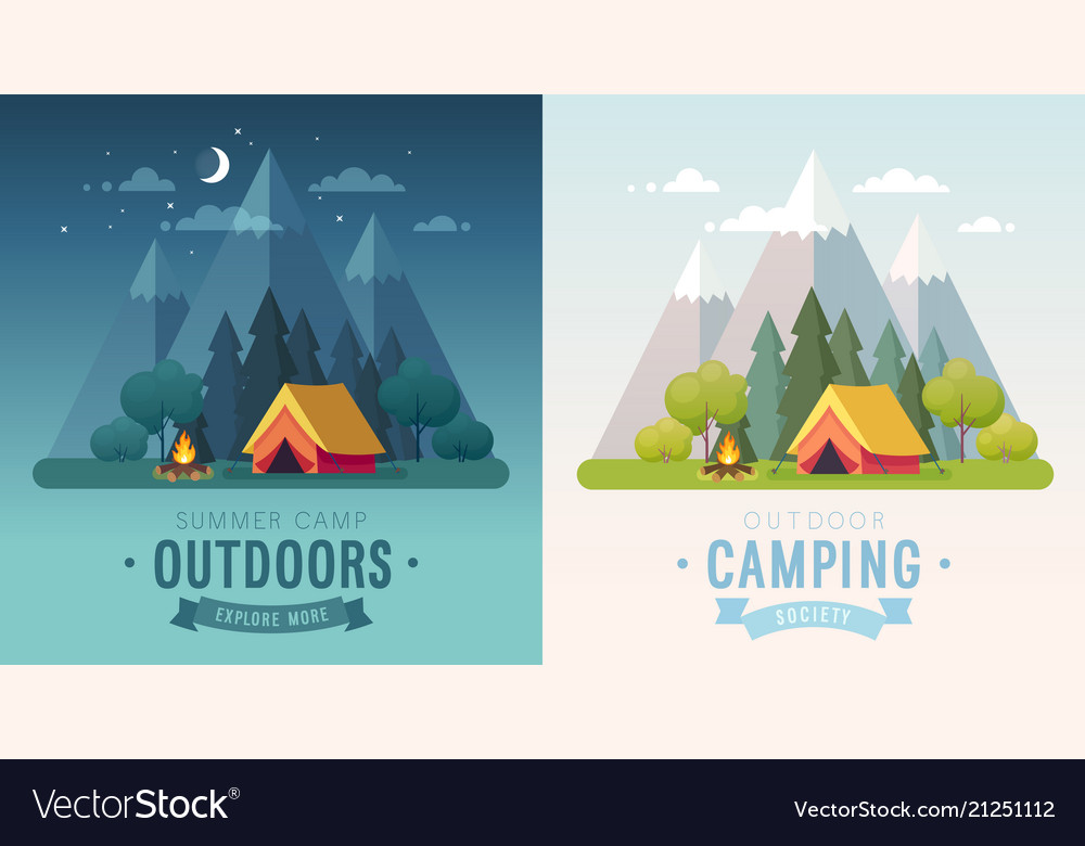 Summer camping morning and night graphic posters