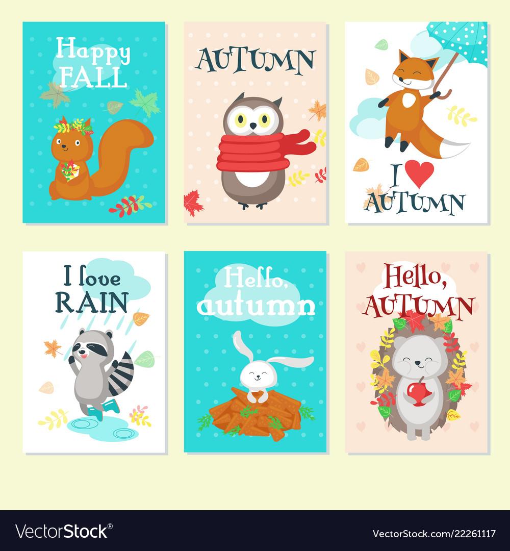 Autumn animal card set isolated