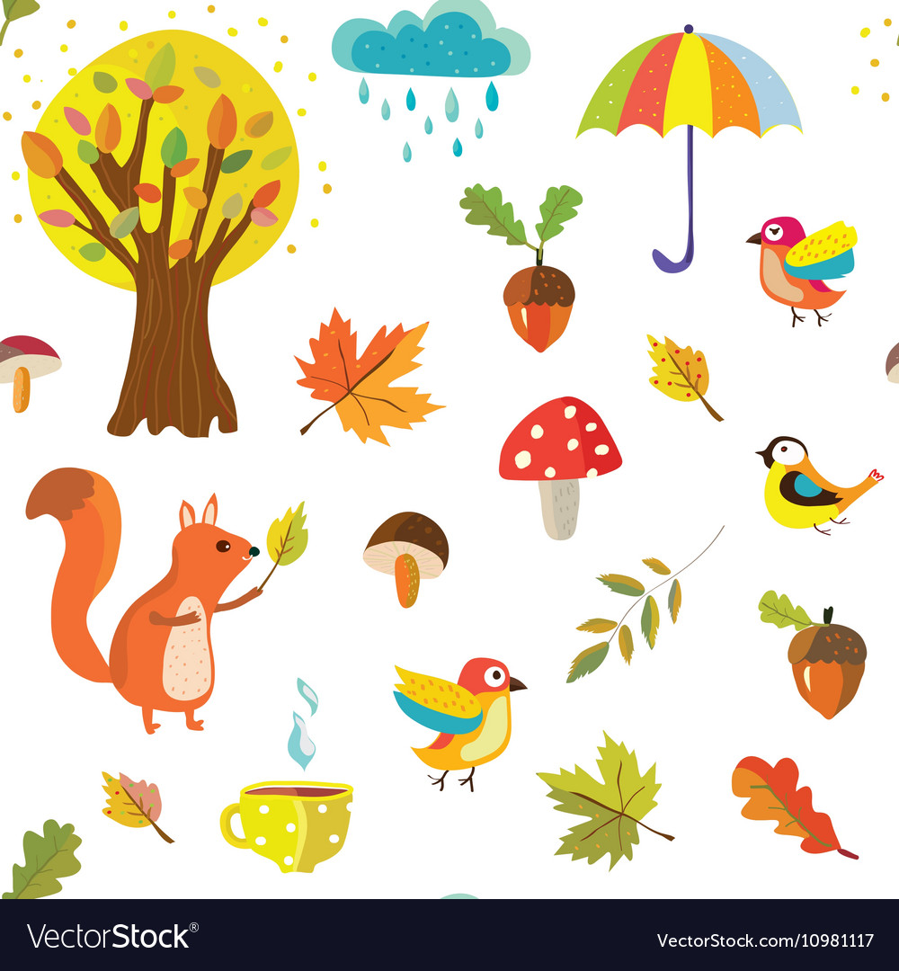 Autumnal seamless pattern with nature elements
