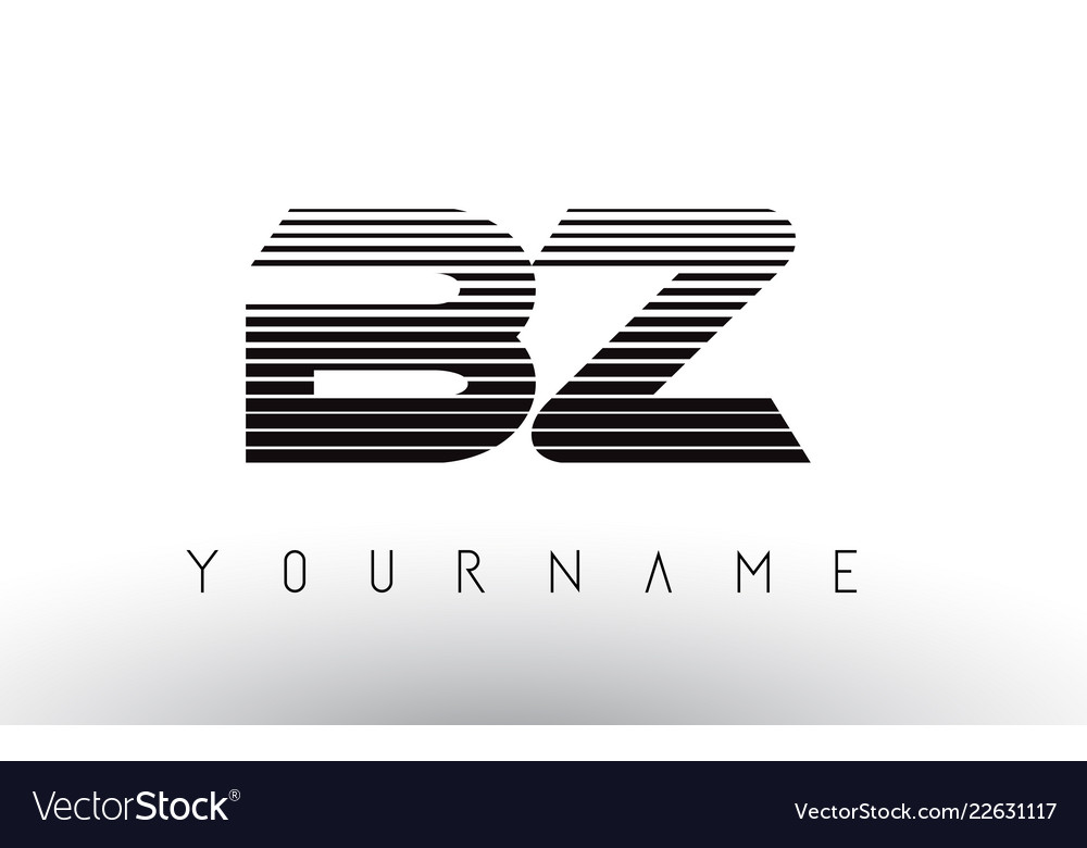 Bz B Z Black And White Horizontal Stripes Letter Vector Image